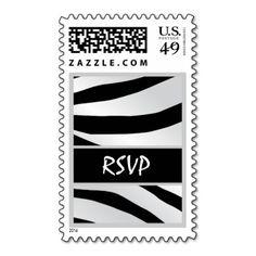 Bold Black White Silver Tiger Wedding RSVP Stamps #wedding #stamps #love #marriage #romance #bride #groom #jaclinart #love #postage #bold #black #white #silver #tiger #rsvp