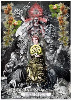 Queen of Coins - Arthur Taussig Collage Tarot