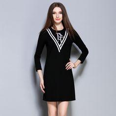 Europe Slim Dresses Women autumn casual Dress black long Sleeve Women Round Neck Patchwork OL Dresses Plus Size S-2XL 1433