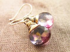 Supernova Earrings Mystic Quartz Wire wrap by thelittlehappygoose, $40.00