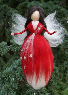 All Details You Need to Know About Home Decoration - Modern Easy Yarn Crafts, Felt Crafts, Wool Dolls, Felt Dolls, Christmas Fairy, Felt Christmas, Felt Angel, Fairy Gifts, Felted Wool Crafts