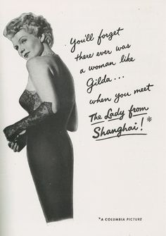 Rita Hayworth in a The Lady from Shanghai advertisement, 1947