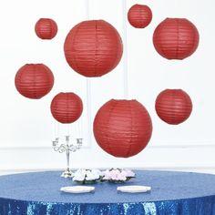 Set of 8 | Burgundy Assorted Chinese Lanterns | Hanging Paper Lanterns With Metal Frame - 6