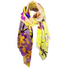 Unpaired - Whisper Yellow Silk Crepe Long Scarf ($130) ❤ liked on Polyvore featuring accessories, scarves, jeweled scarves, yellow shawl, long shawl, yellow scarves and long scarves