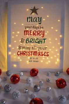 "- Custom picked fonts hand painted onto 12x16 stretched canvas - ""May your days be Merry & Bright and may all your christmases be white"" In red, green and gold lettering with silver glitter accents -"