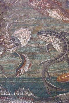 Marine Life Mosaic from House viii in Pompeii demonstrating the vermiculatum technique (ca. 2nd century BC)