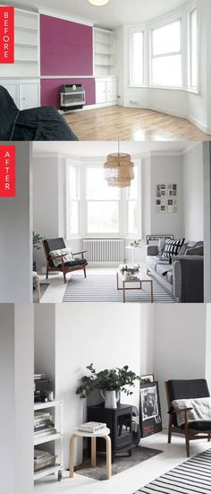 This living room and kitchen combination opens up to feature modern, airy spaces, separating the two room and creating better flow for the apartment.  A lovely bay window and original floorboards hidden beneath the laminate are uncovered to really make a difference.