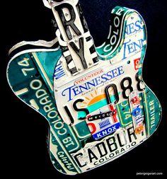 License Plate Guitar Art Petergeigerart.com