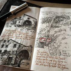 Urban Sketches and Travel Journals on Moleskine Books Kunstjournal Inspiration, Sketchbook Inspiration, Journal Aesthetic, Aesthetic Art, Art Sketches, Art Drawings, Drawing Faces, Arte Sketchbook, Moleskine Sketchbook