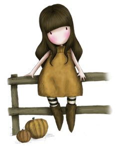 On the fence- Gorjuss Art And Illustration, Illustrations Posters, Cute Images, Cute Pictures, Santoro London, Arte Country, Beautiful Little Girls, Digi Stamps, Copics