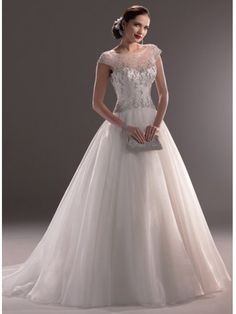 Timeless Bateau Neckline With Cap-sleeves Pretty Ball Gown Wedding Dress