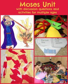 Moses Unit (Exodus, Leviticus, Numbers, Deuteronomy) - Adventures in Mommydom Bible Story Crafts, Bible Crafts For Kids, Bible Study For Kids, Preschool Bible, Bible Lessons For Kids, Bible Activities, Bible Stories, Kids Bible, Preschool Themes