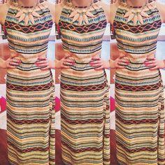 chic tribal maxi    dress: MM Couture - tribal print maxi dress $120 // necklace: Kendra Scott $110 #kkbloomstyle #newarrivals #triballove