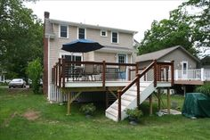 Old Lyme Cottage remodel, new deck with cable rail system. Old Lyme, Cable Railing, New Deck, Deck With Pergola, Remodels, Photo Galleries, Home And Family, Shed, Cottage