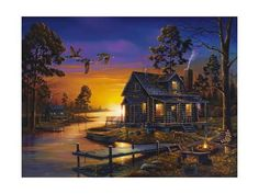 LED Lighted Cabin Sunset Campfire~Canvas Art Picture Lodge Decor Light-up Print Canvas Wall Art, Wall Art Prints, Poster Prints, Art Pictures, Photos, Lighted Canvas, Thomas Kinkade, Arte Popular, Outdoor Art