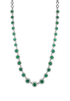 Effy Brasilica 14K White Gold Emerald and Diamond Necklace, 10.45 TCW - Necklaces & Pendants - Women