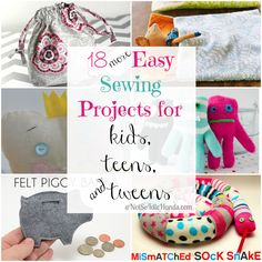 18 Easy Sewing Projects for Kids, Teens, and Tweens @NotSoIdleHands.com
