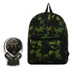 Camouflage Backpack & Headphones Set - Kids