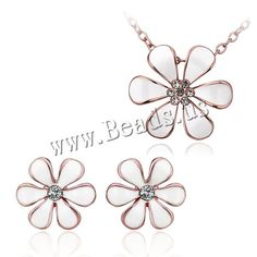 comeon® Jewelry Set, earring & necklace, Zinc Alloy, with 2lnch extender chain, Flower, plated, stoving varnish & oval chain & with rhinestone, more colors for choice