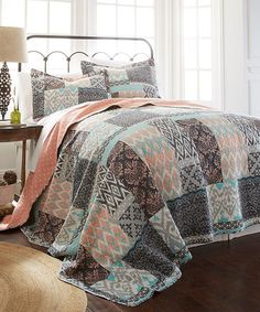 Another great find on #zulily! Coral & Turquoise Three-Piece Reversible Quilt Set #zulilyfinds
