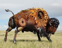 Funny pictures about Scrap Metal Bison. Oh, and cool pics about Scrap Metal Bison. Also, Scrap Metal Bison photos. Metal Tree Wall Art, Scrap Metal Art, Bronze Sculpture, Sculpture Art, Statues, Weekender, Art Archive, Animal Sculptures, Metal Sculptures