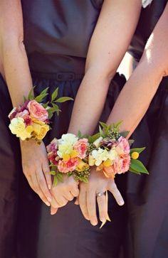 Bridesmaid wrist corsages