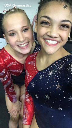 Madison Kocian and Laurie Hernandez-Rio 2016 #GoTeamUSA 🇺🇸🇺🇸