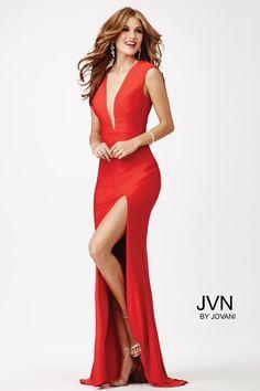 Red Plunging Neckline Prom Dress