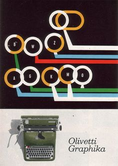 Poster for olivetti typewriters by Giovanni Pintori, from the Graphis Annual, 1959.