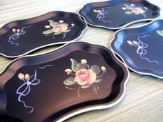Vintage Tole Painted Set of Four Trays Shabby Chic by ChiarandCo, $27.50