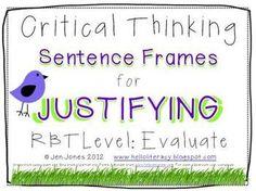 Critical Thinking Language Sentence Frames {Say What?}  Al
