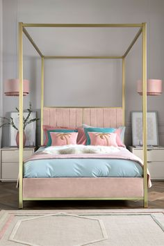 Home bedroom Next Langdon Four Poster Bed - Pink Tips On How To Buy Discount Furniture If you have e Dream Bedroom, Home Bedroom, Girls Bedroom, Master Bedroom, Bedroom Decor, Bedroom Ideas, Bedrooms, Bedroom Inspiration, Bedroom Frames
