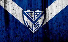 Download wallpapers 4k, FC Velez Sarsfield, grunge, Superliga, soccer, Argentina, logo, Velez Sarsfield, football club, stone texture, Velez Sarsfield FC