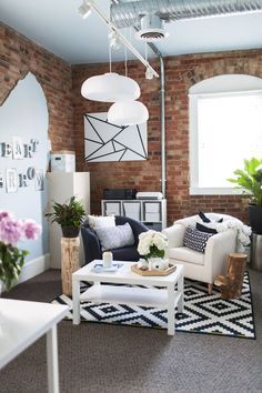 Take a peek inside this modern yet eclectic workspace to inspire your next room update. The mix of contemporary design and rustic accents ties this up-to-date home together.