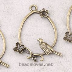 3pcs Bird Vintage Style Antique Brass Jewelry by findingswholesale, $1.99
