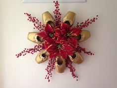 Pointe Shoe Christmas Wreath Holiday Ballet by PointeBlankDesigns Dance Decorations, Christmas Decorations, Shoe Crafts, Diy Crafts, Dance Crafts, Nutcracker Ornaments, Perfect Mother's Day Gift, Pointe Shoes, Holiday Wreaths