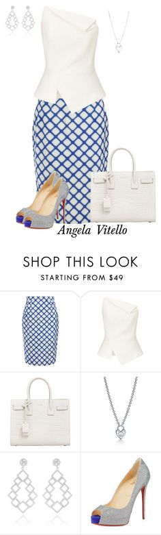 """""""Untitled #753"""" by angela-vitello on Polyvore featuring Jonathan Saunders, Roland Mouret, Yves Saint Laurent, Tiffany & Co. and Christian Louboutin"""