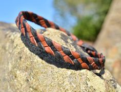 Men's Woven Black and Tan Leather Bracelet  by BritishBohemian