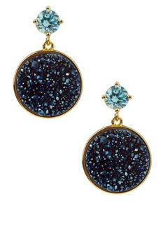 CZ & Round Druzy Drop Earrings