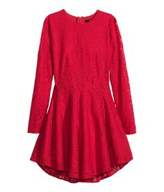 Hey!!  Just got this dress!!!   Red lace long-sleeve dress with circle skirt. | Party in H&M
