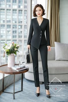 Formal Suits Workwear Office Lady Uniform Women Office Suits Blazers Feminino Uniform Business Pants Suits 2 Pie Size S Color Black Pant Suits Modern Suits, Formal Suits, Sexy Work Outfit, Sexy Outfits, Sexy Business Attire, Business Suits For Women, Work Suits For Women, Business Formal, Pantsuits For Women