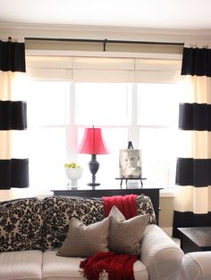 Captivating Loft Window Curtains Designs: Captivating Traditional Family Room With Black And White Loft Window Curtains Theme Color Also Red Table Lamp Also Cool White Sofa With Curtains And Red Blanket ~ lighthouseartscenter.org Interior Design Inspiration