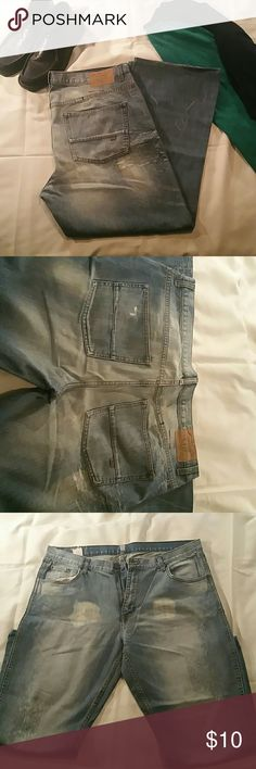 Mens Jeans 38x29 These jeans or broken in for comfort, with huge character.  Notice the patterns and wear. Tags indicate inseam is a 32, however they have been tailored to a 29.  They have been rehemmed, so no fraying. company 81 Jeans Bootcut