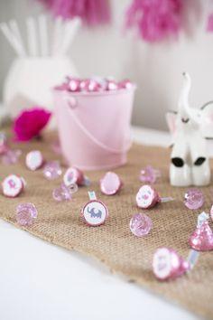 Super lovable Pink and Gray Elephant themed stickers for a girl baby shower. Make your own sweet treats with these perfectly sized sticker made for Hershey Kisses to create favors and decorations. Eve