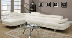Hollywood White Eco Leather Adjustable Sectional Sofa with Armless Chair and Left Facing Chaise Sectional, Left Facing Chaise, Cream Living Rooms, Armless Chair, Furniture, White Sectional, Sectional Sofa, White Faux Leather, Cream Living Room Furniture