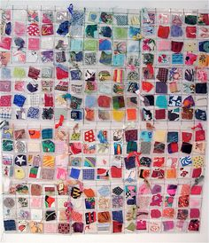 Fabric art by Bonny Gorsuch - like a dreamy quilt Reuse Fabric, Recycled Fabric, Fabric Art, Fabric Scraps, Scrap Fabric, Fabric Labels, Fabric Samples, Textures Patterns, Textile Art