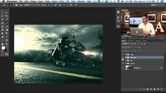 motorcycle photo edit in photoshop part 2.   Rain, fog, lighting effects.