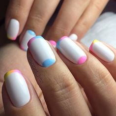 Bright colorful nails, Colorful gel polish nails, Colorful moon nails, Manicure for young girls, Multi-colored french manicure, Multicolored french manicure, Nails trends 2017, Rainbow french