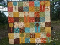 lollipop quilt - maybe this could work for my cupcake quilt?