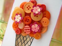 Ice Cream Cone Tag by psitsinthedetails on Etsy Diy Buttons, Vintage Buttons, Scrapbook Paper Crafts, Scrapbook Cards, Crafty Fox, Crafts For Kids, Diy Crafts, Origami, Button Art